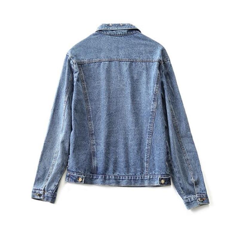 2019 chaqueta de mujer de moda de alta calidad primavera otoño pesado diamante con cuentas abrigo de mezclilla de mujer chaqueta de bombardero Casual de mujer-in chaquetas básicas from Ropa de mujer    2