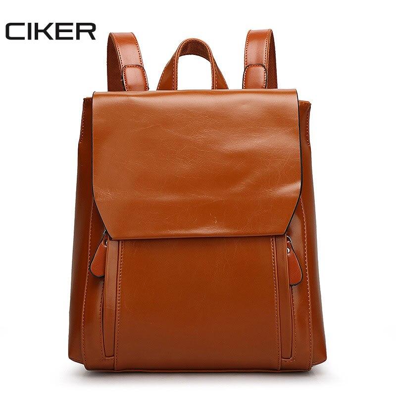 CIKER Vintage Oil Wax PU Leather Travel Backpack School Bags For Teenagers Girls Female Back Pack