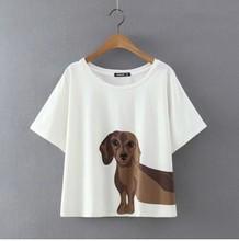 Cute T shirt Women Add Pink Summer 2016 Loose Tops Dachshund Print Short Sleeve Plus Size Cotton T shirt blusas femininas T6651