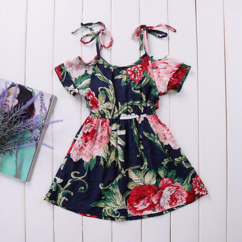 Baby Kids Girls f shoulder Floral Dress Kids Summer Party Flowers