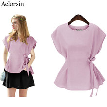 Aelorxin 2019 Blouse Women Kimono Summer Round Neck Short Sleeve Loose Lace Blouses Plus Size 5XL Women's Blouse Blusas Mujer