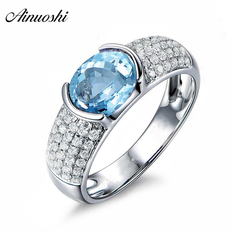 AINUOSHI чистый 925 серебро Природный Голубой топаз кольцо 1,5 карат овальным вырезом Голубой топаз овальное кольцо Свадебные Обручение кольцо