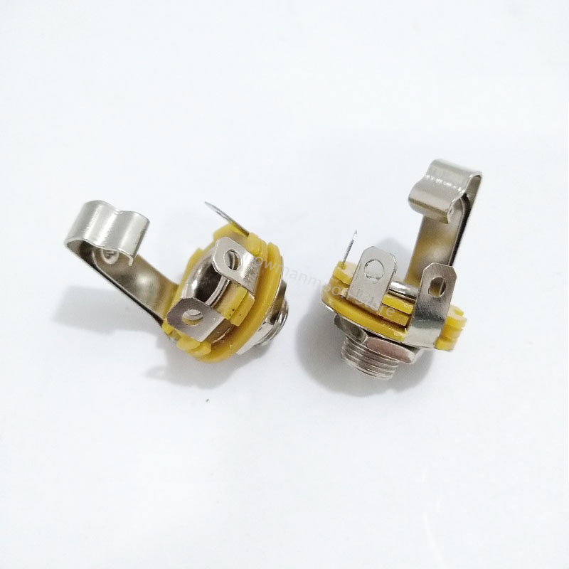 2/10/50PCS 6.35MM Socket  Mono Channel Microphone Jack Panel Mounting 6.35mm Jack Audio Metal Socket