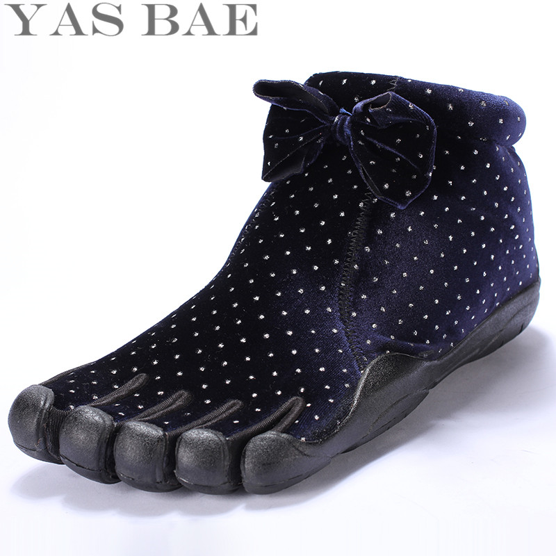 Yas Bae High Top Bow Design Rubber with Five Fingers Outdoor Slip Resistant Breathable Light weight Mountaineer Shoes for Women