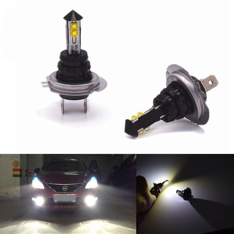 Hoping 2 X H7 20W  4SMD Car Headlights High Power LED Fog Lamp Headlamp 1800LM Auto Front Bulb 6000K Car Lighting 360 degrees
