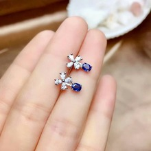 shilovem 925 silver sterling natural sapphire stud earrings party fine Jewelry women trendy new gemstone me0304999agl
