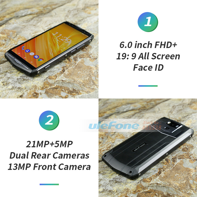 Ulefone Power 5 13000mAh 4G Smartphone 6.0″ FHD MTK6763 Octa Core Android 8.1 6GB+64GB 21MP Wireless charger Fingprint Face ID