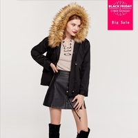 Winter new women's large fur collar hooded cotton coat lambswool cotton jacket female slim was thin oversize outwear L1463 DHL