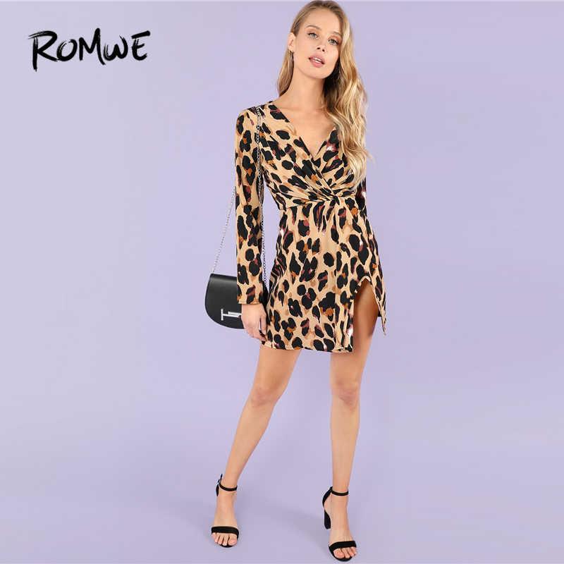 353adc8cebcca ROMWE Deep V-Neck Twist Leopard Print Sexy Dresses Party Night Club Dress  Autumn Spring Womens Clothing Long Sleeve Dress