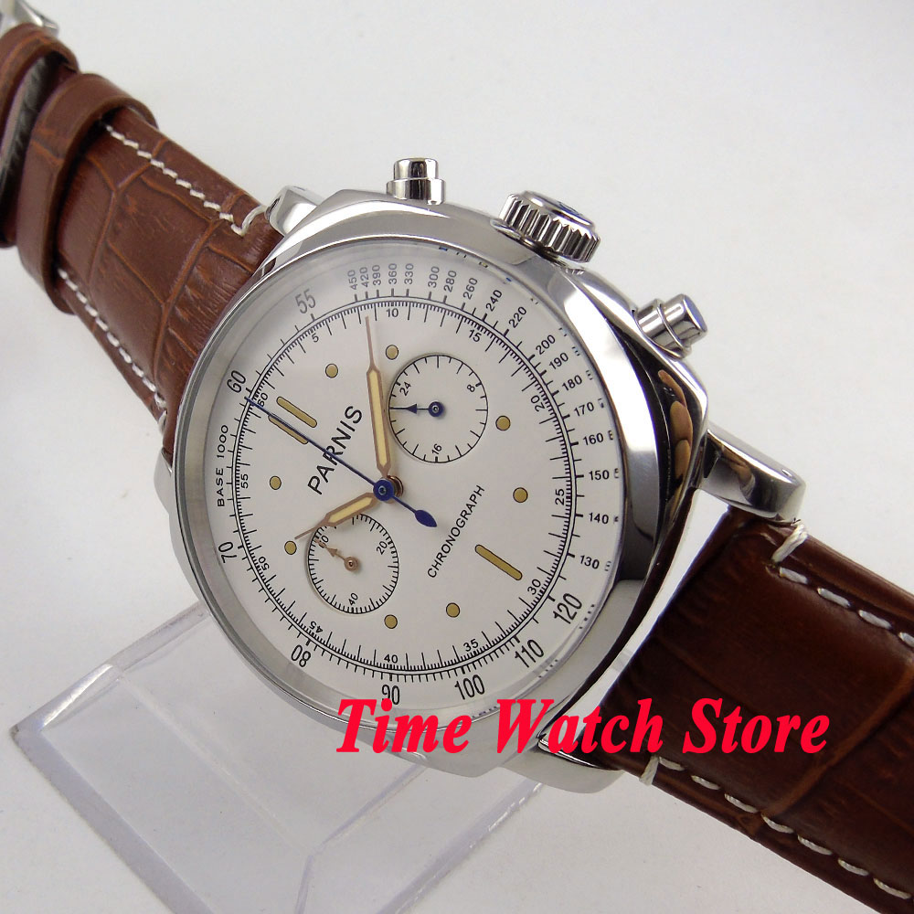 44mm Solid Parnis men s watch white dial luminous hands Full chronograph stop watch quartz movement