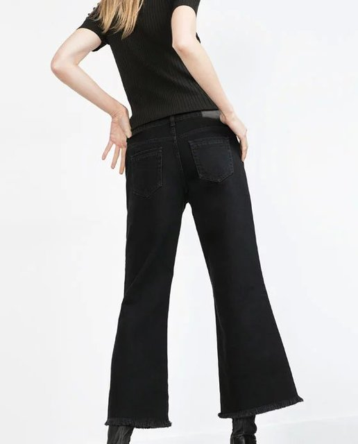 Women cotton Jeans high quality ninth length pants ladies black wide leg pant Female casual trousers XS-XL tassel hem twill 2017