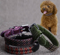 Top Quality Dogs Cats Fashion PU Leather Collar Doggy Grid Collars Puppy PU Leather Collars Pets