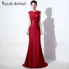 Cut Out Back Mermaid Evening Dresses Cap Sleeves Red Lace 2016 Beading O-neck Evening Gowns With Satin Sashes vestidos de noche
