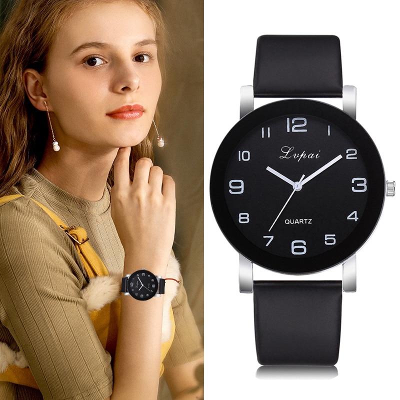 Lvpai Brand Bracelet Watch Women Fashion Leather Black Quartz Wrist Watches Ladies Clock Relogio Feminino Reloj Mujer