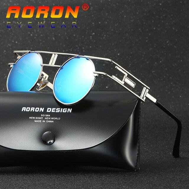 84154f6afd804 LOGOTIPO Da Marca AORON Originais Óculos Polarizados Óculos Homens Designer  de Espelho Redondo Óculos de sol