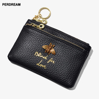cowhide honeybee lady zipper leather coin purse leather key ring bag mini coin bag