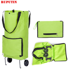 RUPUTIN New Folding Portable Shopping Bags Buy Vegetables Bag High Capacity Food Organizer Trolley On Wheels