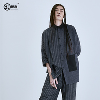 Независимые японский дизайнер мужские Весна в стиле ретро С Рукавами Хлопчатобумажная Рубашка потерять цвет рубашка в полоску