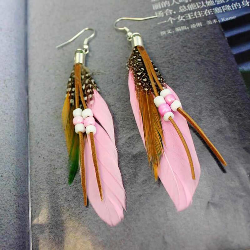 2018 European Women Bohemian Gypsy Beads Tassel Feather Earrings Girls Charming Jewelry Dance Party Favors Christmas New Year