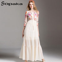 SOPAKA High Quality White Voile Floral Embroidery Runway Designer Maxi Women Dress 2017 Summer Long Sleeve