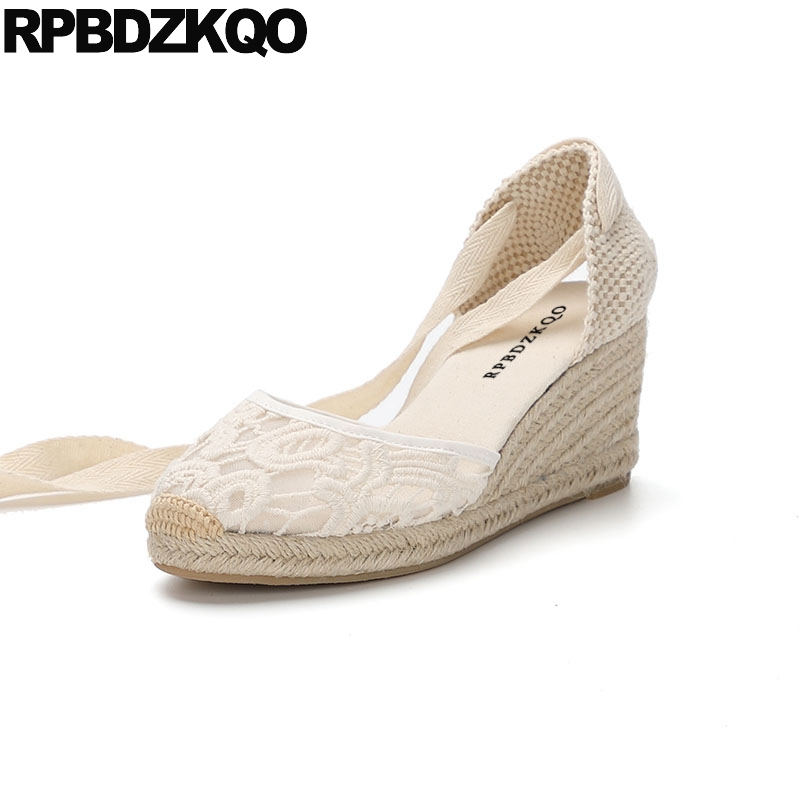 Large Size Famous Brand High Heels Tie Up Closed Toe Pumps Women Wedge Platform Sandals Strap Shoes Espadrilles White Lace Rope annymoli platform high heels lace up wedge shoes ladies pumps pointed toe lace up increasing heels shoes black white size 34 39