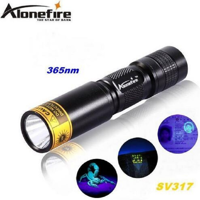 Authentic ALONEFIRE SV317 365nm UV led flashlight torches lamp ultraviolet light to detector For 1xAA/14500 rechargeable battery цена