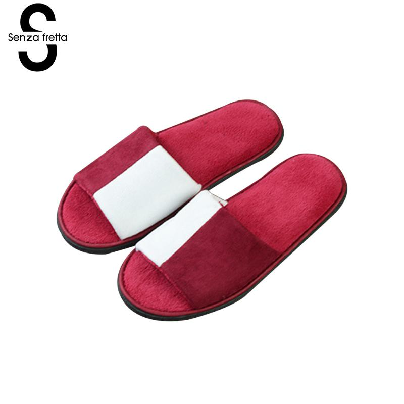 Senza Fretta Plush Floor Slippers Home Hotel Coral Velvet Couple Slippers Thick Non-slip Plush Slippers Women Men Shoes 29cm цена