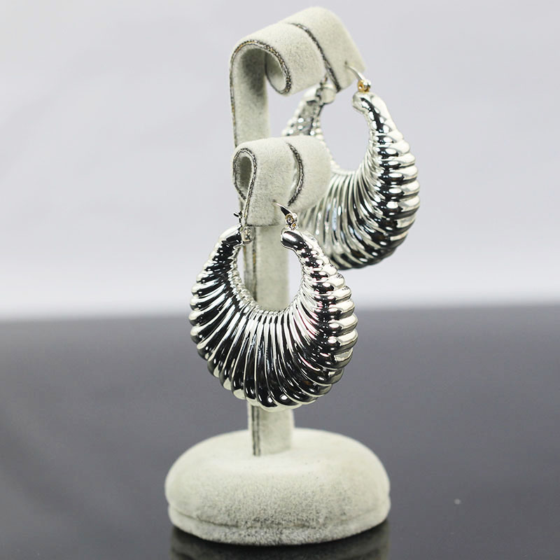 Vintage Silver Hoop Earrings for Brides Fashion Weave Wedding Jewelry Woman Big Hoop Earrings Ladies Queen Gift EA147