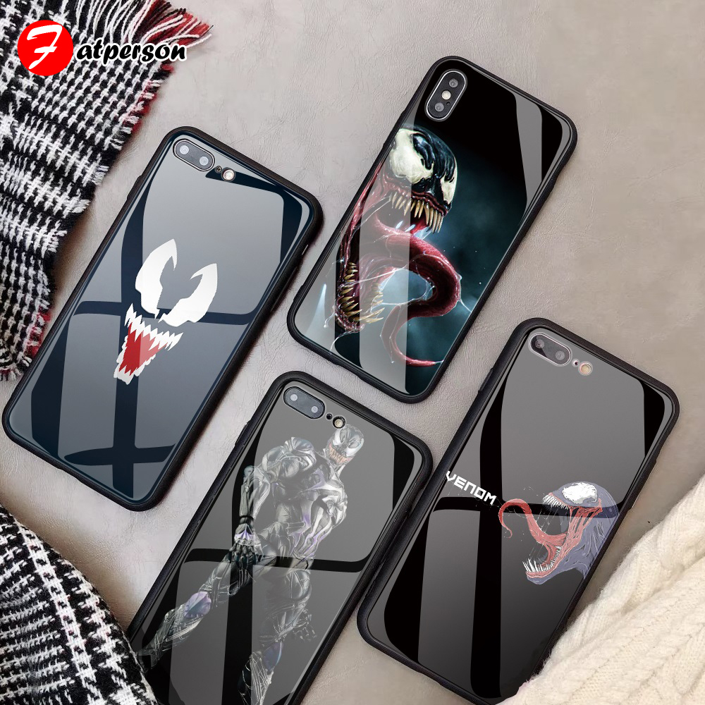 DIY Tempered Glass Phone Cover for iPhone X XR XS MAX case venom MARVEL Phone Case for iPhone 8 6s 7 X 6 Plus custom made case diy phone cover