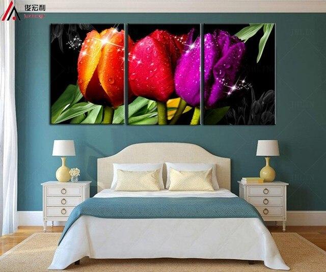 Peintures l 39 huile tulipes cuadros modernos baratos fleur for Cuadros decorativos clasicos