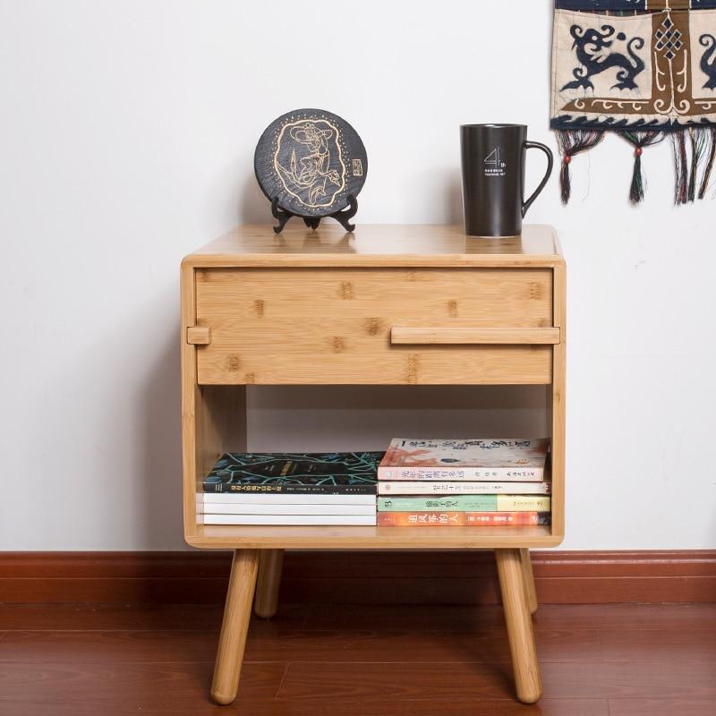 Купить с кэшбэком Bamboo Nightstand Table Modern Night Table for Bedroom Bedside with Storage Drawer Furniture
