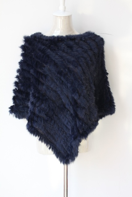 Fur Knitted Poncho White