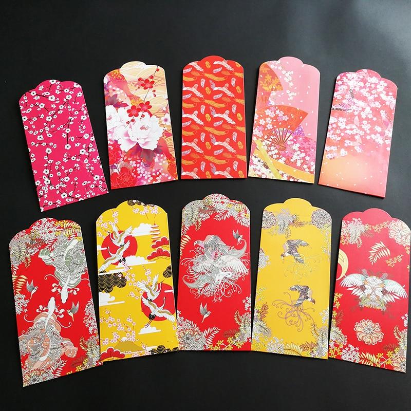 10Pcs/Pack Wedding Money Envelopes (Hong Bao)Wedding Gift Envelope Japanese Style Little Something 3.5*6.8In Red Envelopes