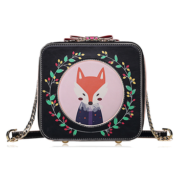 Women Leather Embroidery Handbags Girl Shoulder Bags Messenger Bag Female Totes Braccialini Style Handicraft Art Cartoon Fox