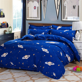 Galaxy UFO Flying Theme Printing Bedding Bed Cover Set Deep Blue 4Piece Polyester Kids Duvet/Quilt Cover Twin Pillowcase Sheet