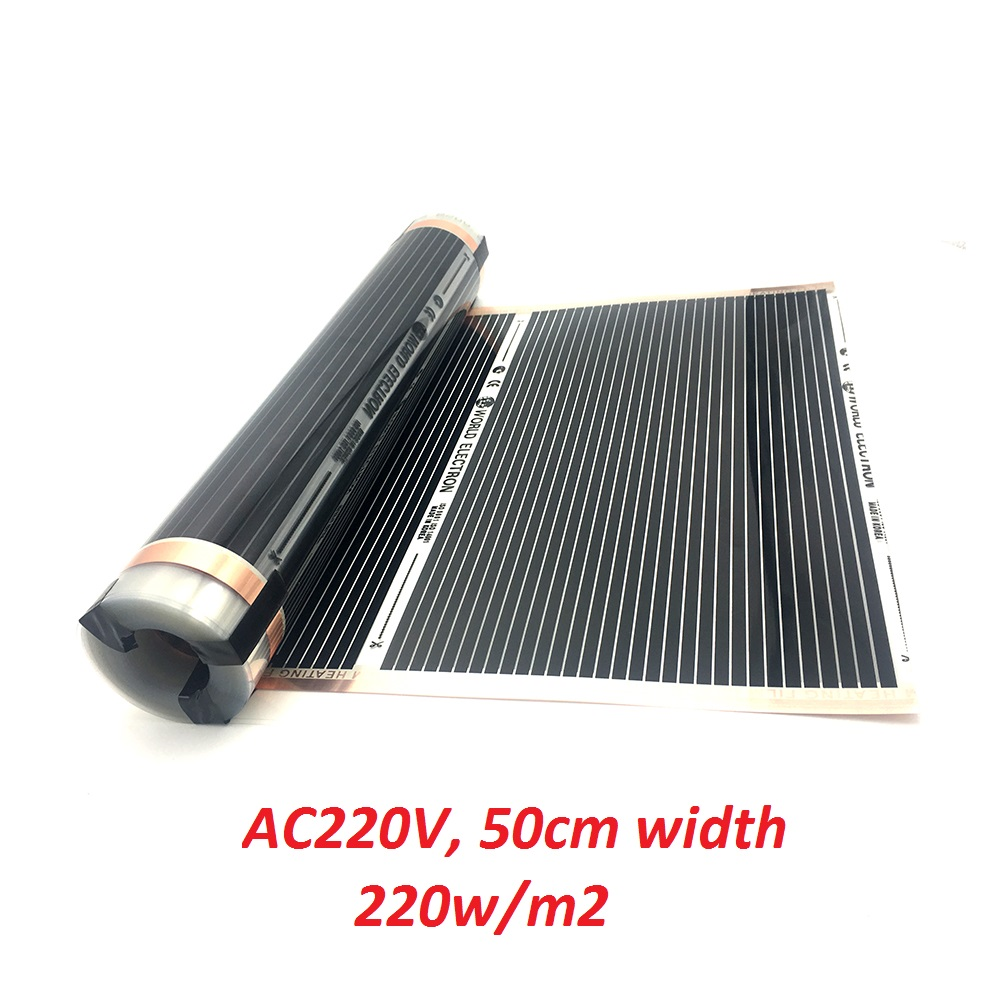All Sizes AC220V Far Infrared Underfloor Heating Film 220w/m2 Electric Floor Warming Mat