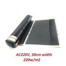 Todos los tamaños AC220V suelo radiante infrarrojo lejano película de calentamiento 220 w/m2 alfombra de calentamiento de suelo eléctrico