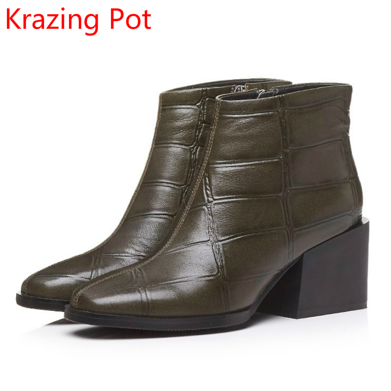 New Arrival Superstar Genuine Leather Zipper High Heels Round Toe Fashion Winter Boots Runway Retro Ankle Boots for Women L29 only true love new arrival genuine leather women fashion flat heels equestrian snow boots round toe women boots