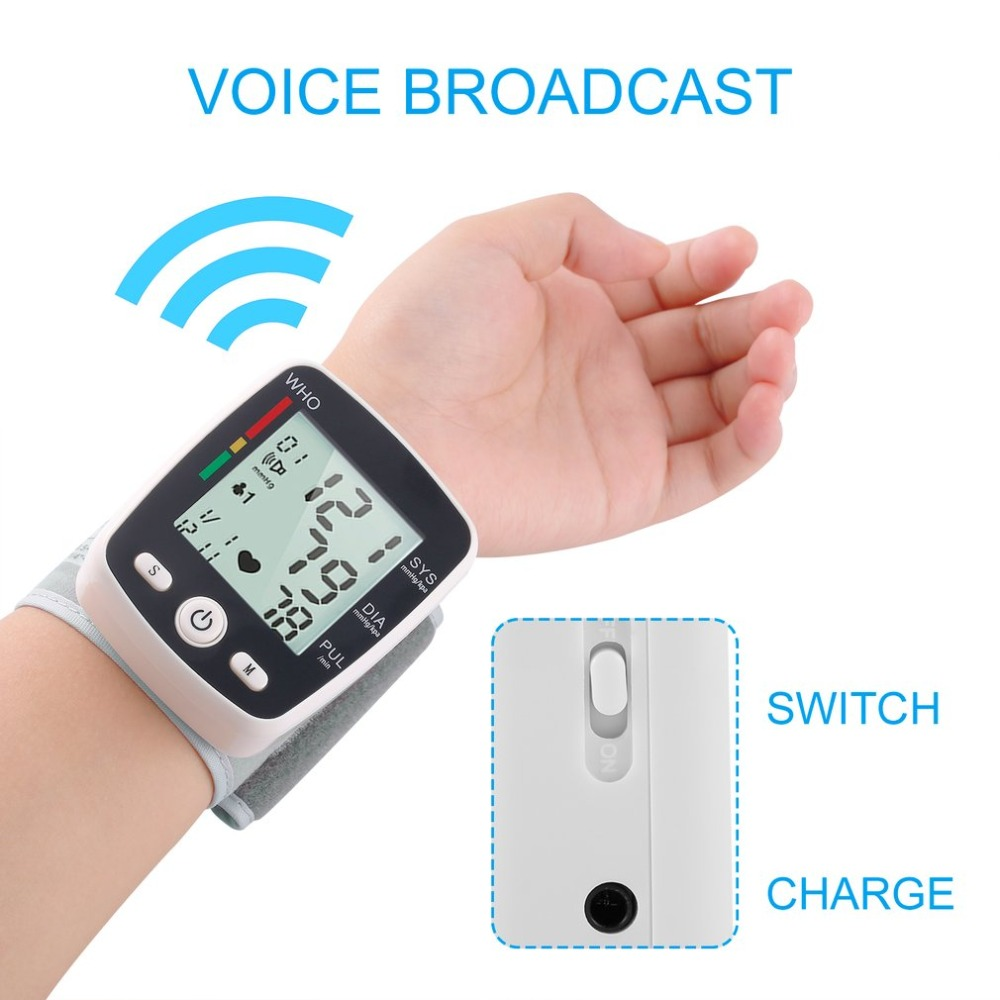 Digital LCD Wrist Blood Pressure Monitor Heart Beat Rate Pulse Measure Device Voltage Power Detection Low Power ConsumptionDigital LCD Wrist Blood Pressure Monitor Heart Beat Rate Pulse Measure Device Voltage Power Detection Low Power Consumption