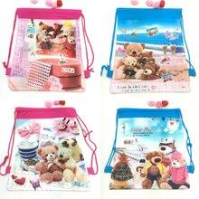 20pcs Lovely Bear theme non-woven fabrics drawstring bags cartoon bear backpack,schoolbag,Gift Travel shopping bag 34*27cm