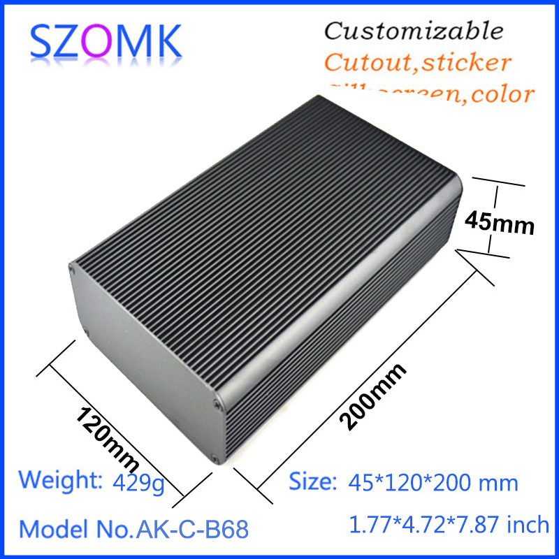 1 piece, 45*120*200mm enclosure electronics szomk black aluminum housing extrusion case powder supply aluminum case control box 1 piece free shipping szomk electronics case aluminum extrusion enclosure 28 h x122w x100l mm