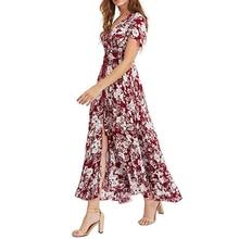 Bohemian Elegant Afueras Long Maxi Skirts Split Skirt Vintage Boho Party Summer Women V-neck Floral Print
