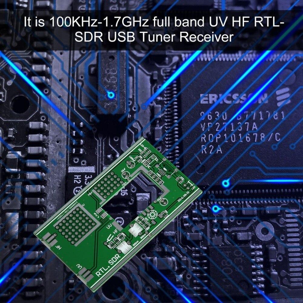 DIY Kits 100KHz to 1.7GHz Full-Band FM DSB UV HF RTL-SD USB Tuner Receiver R820T +RTL2832U + U/V Antenna Software Radio Colorful