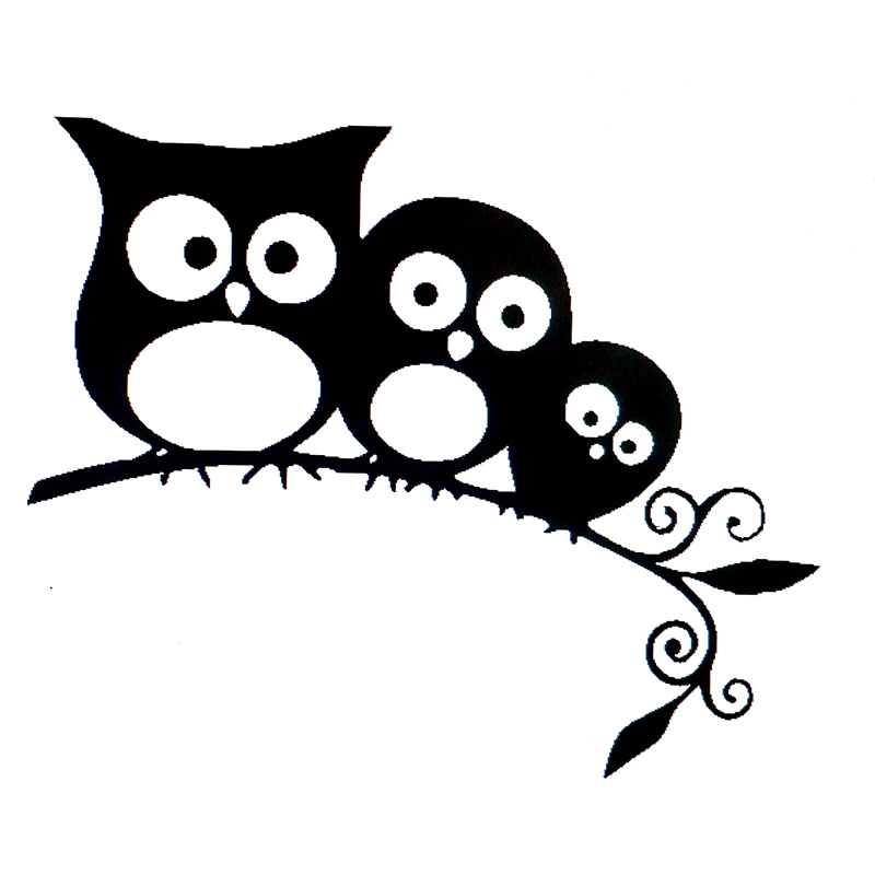13.3X11.1CM Fun Family Of Owls For On Tree Vinyl Decals Car Sticker Black Silver Car-styling S6-2527