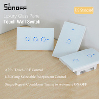 Sonoff T1 US RF WiFi Switch Touch Control Wall Light Switch 1 2 3Gang 120 Type