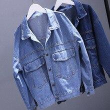 Women Coats 2018 Spring Autumn Casual Loose Denim Jacket Female Long Sleeve Single Breasted Pockets BF Jeans Jacket Coat цена