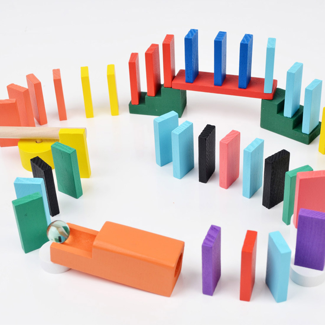 200Pcs Wooden Domino Blocks Set for Kids Racing Games Intelligence Building and Stacking Blocks Education Toy in Blocks from Toys Hobbies