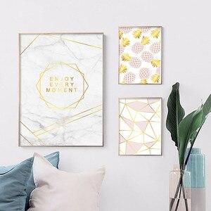 Image 3 - Złoty geometryczny Nordic plakaty i druki ananas owoce płótno malarstwo ścienne obraz sztuki do salonu nowoczesne dekoracje do domu