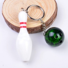 new arrival colorful plastic bowling pin & ball set keychain(China)