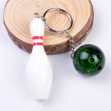 new arrival colorful plastic font b bowling b font pin ball set keychain